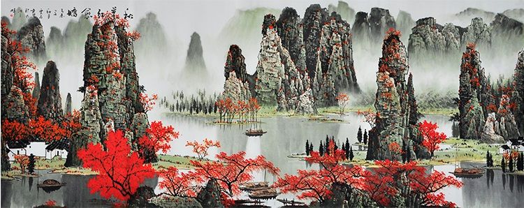 77200 Mountain Painting Chinese Modern Art Famous Artists Traditional Nature Landscape