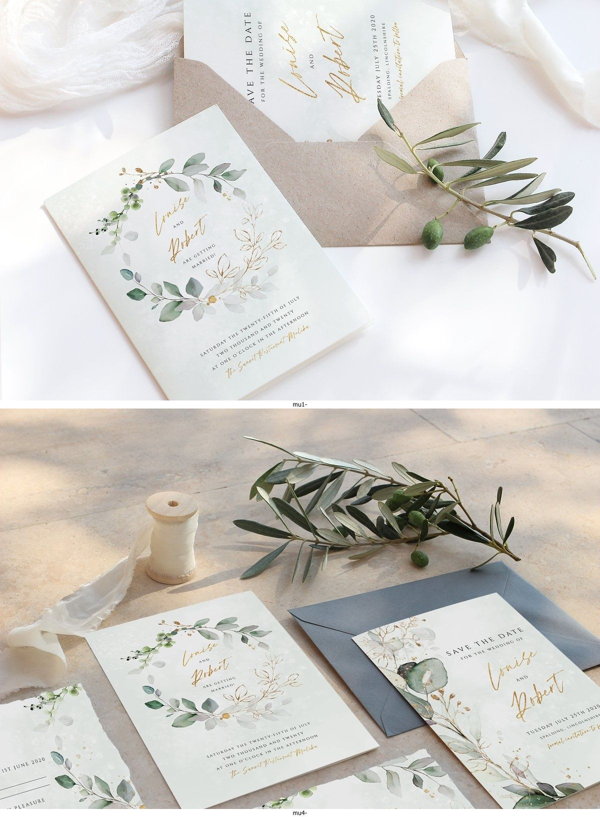 This 6 piece wedding stationery template features beautiful watercolor eucalyptus leaves in green and gold - perfect for an informal yet elegant wedding! | wedding stationery floral fonts #sponsored #wedding #clipart #graphics #design #weddingday #weddinginspiration #weddingplanning #floral #watercolor #rustic #elegant #bride #groom #color #design #romantic #greenery