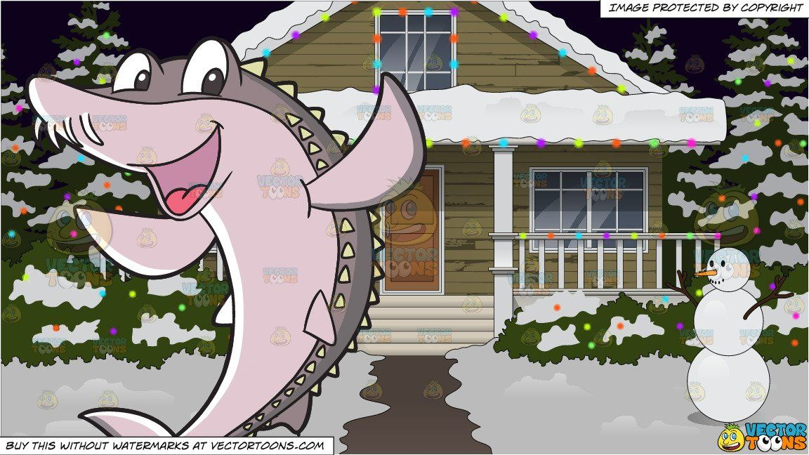 House With Christmas Lights Clipart.Clipart Cartoon A Happy Bramble Shark And The Exterior Of A
