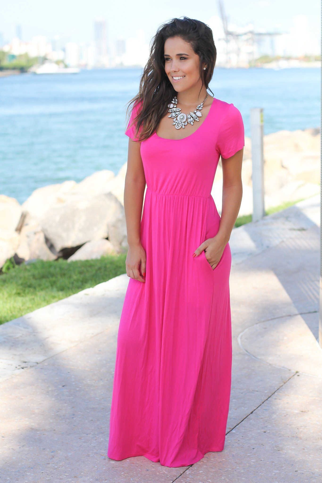 Fuchsia short sleeve maxi dress maxi dresses casual maxi dresses
