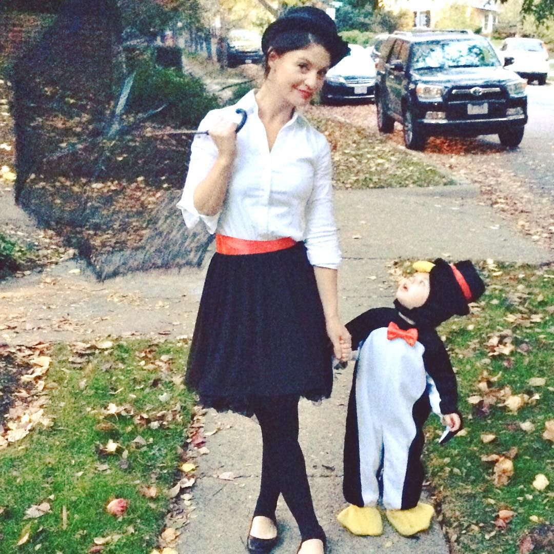 diy halloween costumes -- mary poppins. penguin toddler costume