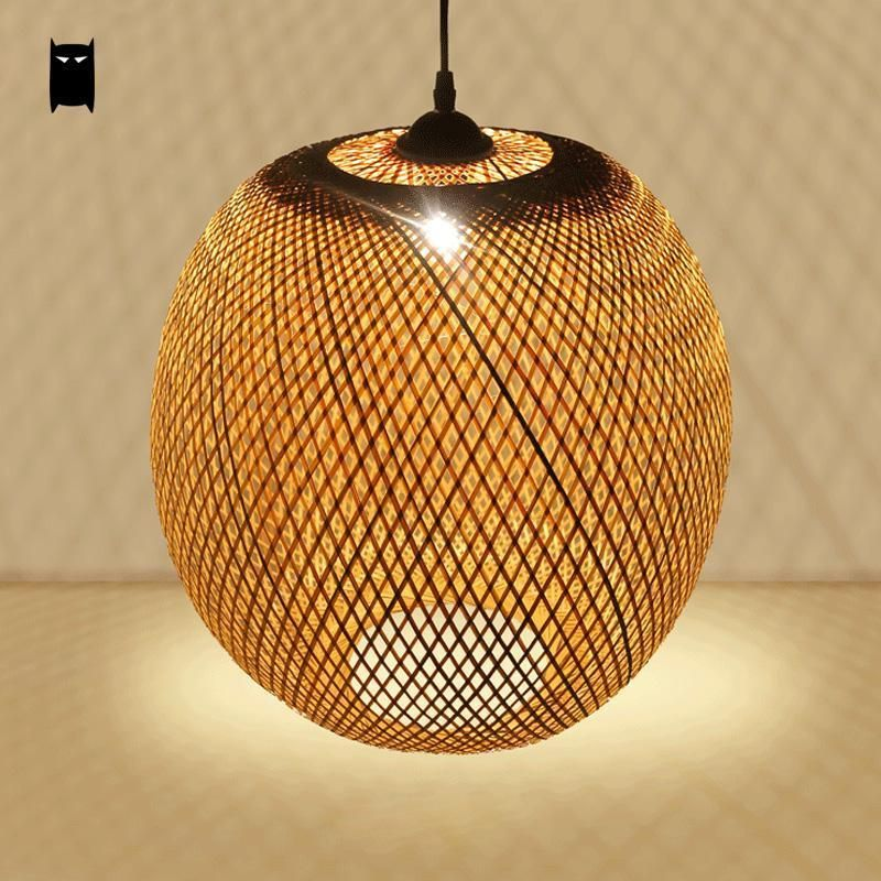 Bamboo Wicker Rattan Globe Shade Pendant Light Fixture