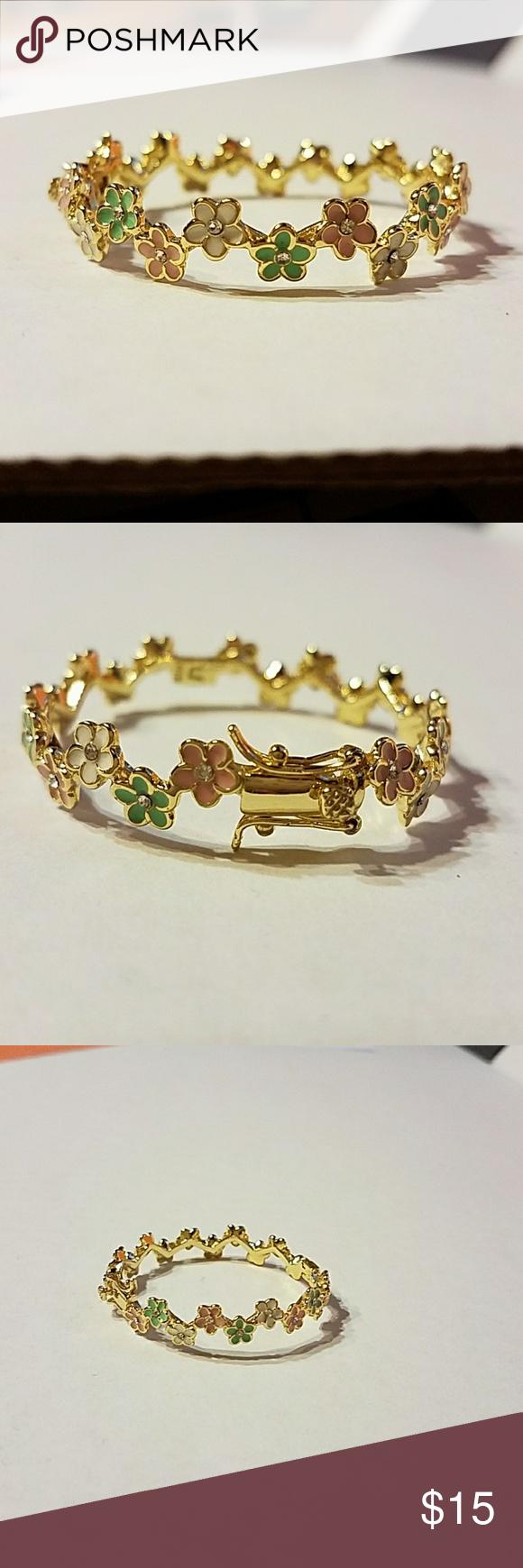 Baby girl pewter flower bracelet pinterest flower bracelet