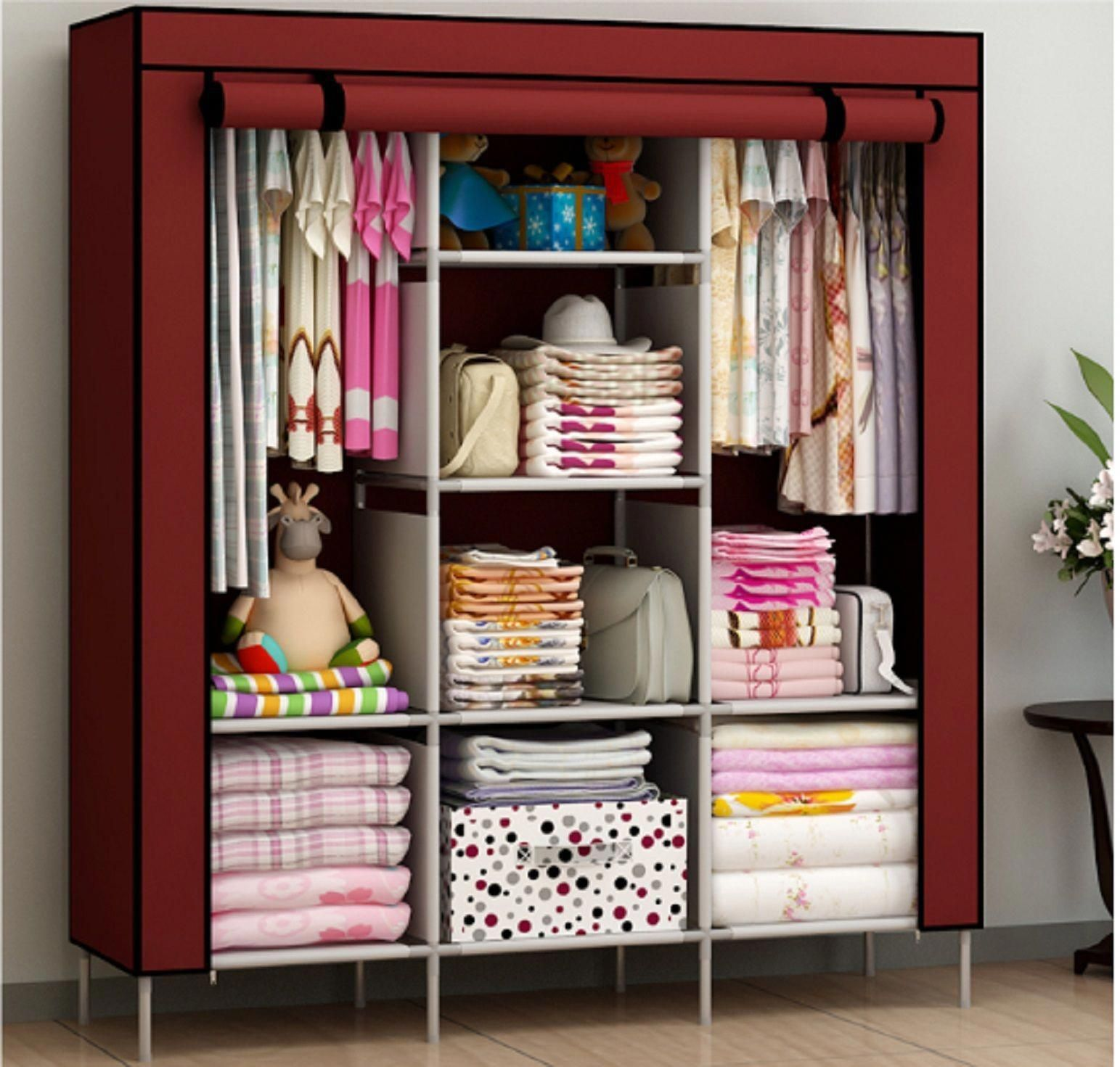 New Portable Bedroom Furniture Clothes Wardrobe Closet Storage Cabinet Armoires Ebay Closetorg Wardrobe Closet Storage Collapsible Wardrobe Folding Wardrobe