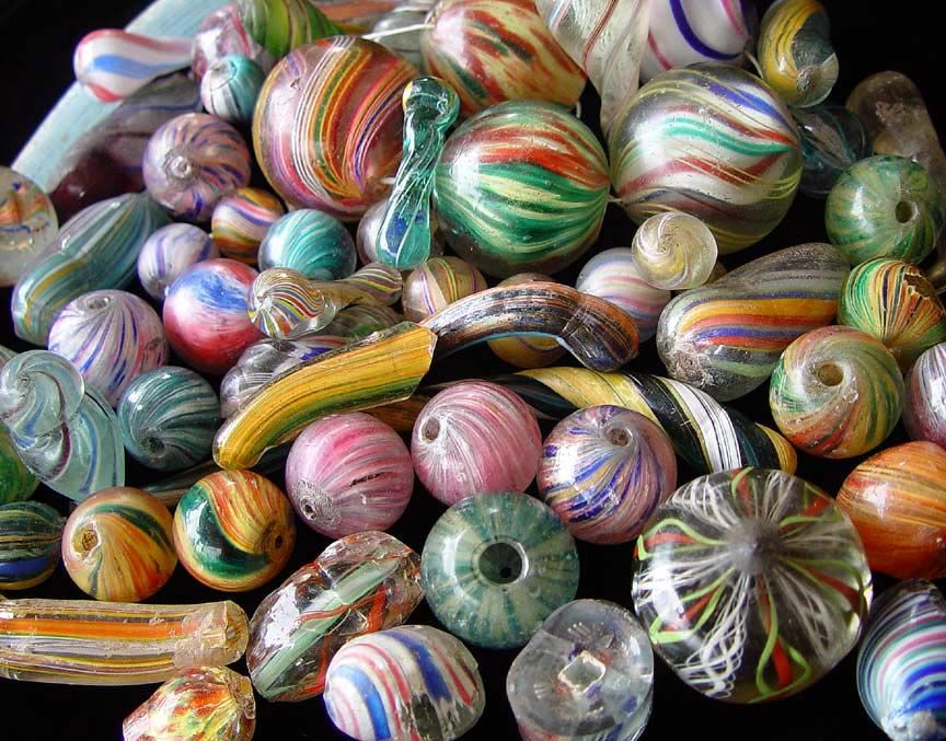 German Marble Beads and fragments, Lauscha, Germany