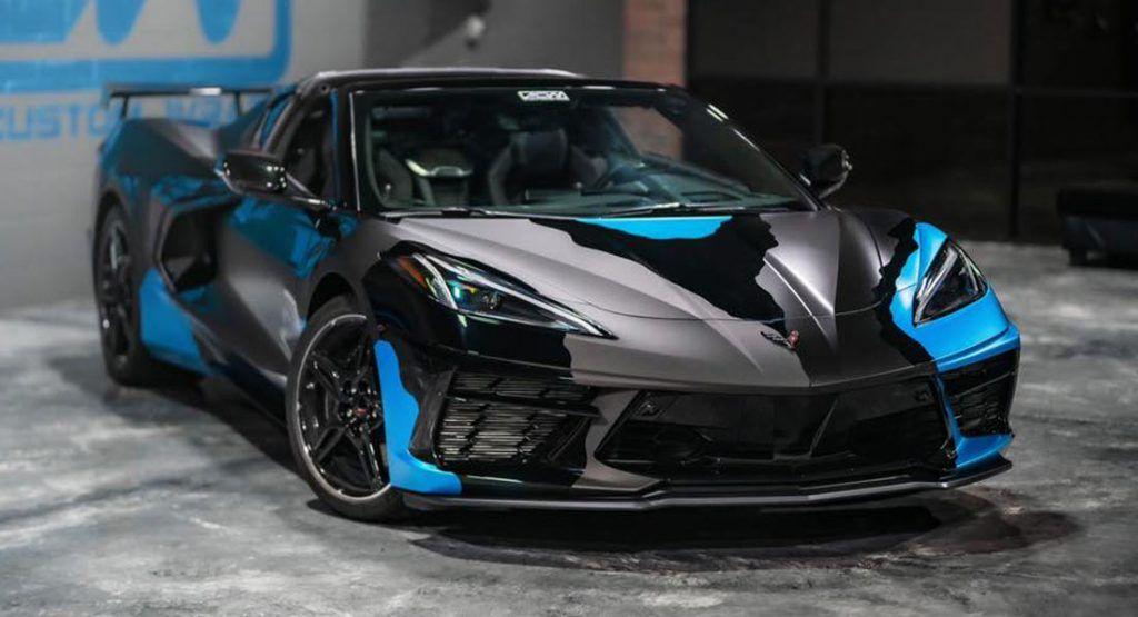 Eye Popping C8 Corvette Gets A Unique Camo Wrap Corvette Stingray Camo Wraps Black Corvette