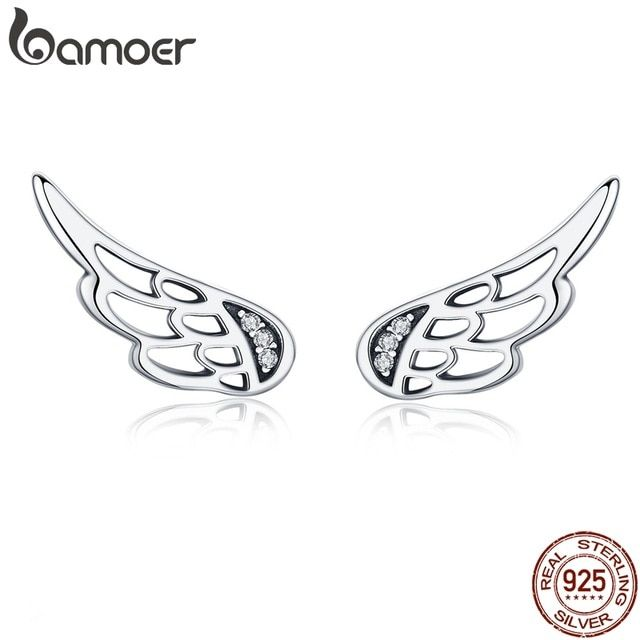 083754ccbff10 BAMOER Genuine 925 Sterling Silver Feather Fairy Wings Stud Earrings ...