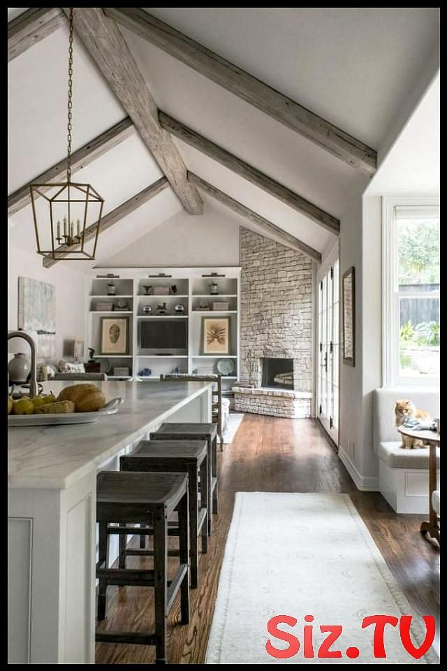 White Contemporary Kitchen With Vaulted Ceilings Adding Beams To