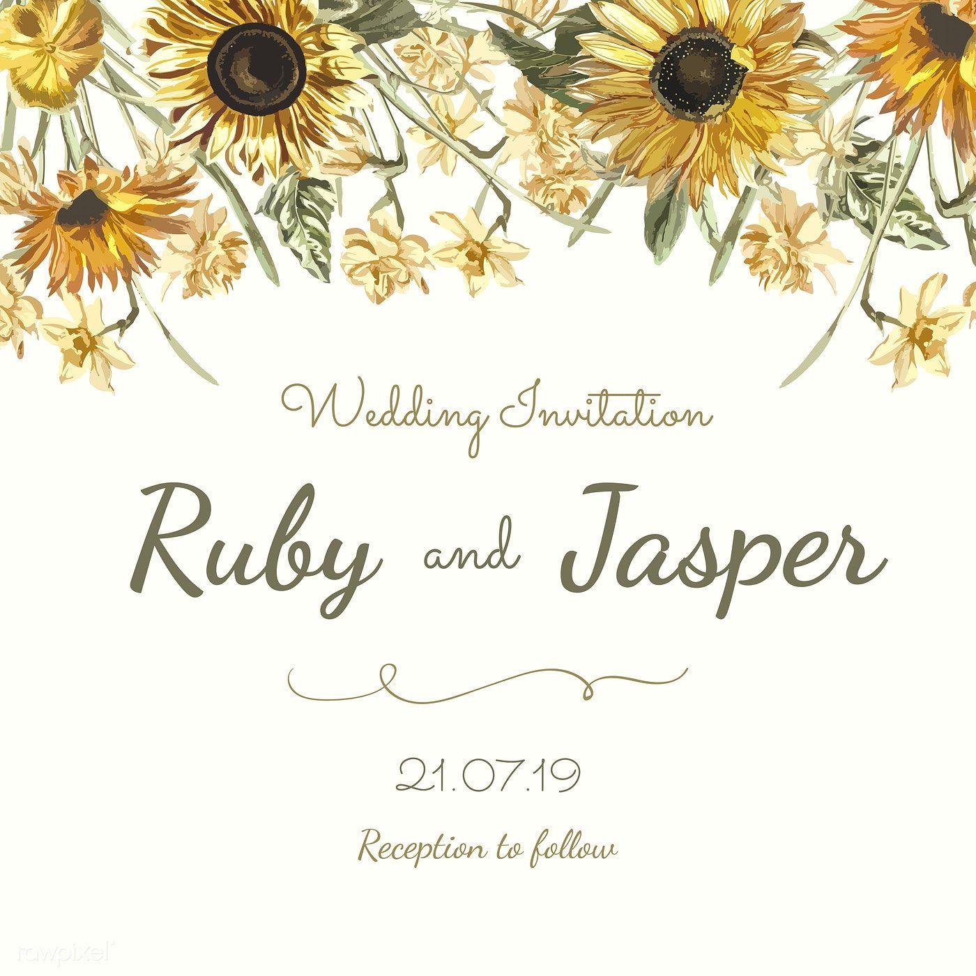 Download premium vector of Wedding invitation card mockup