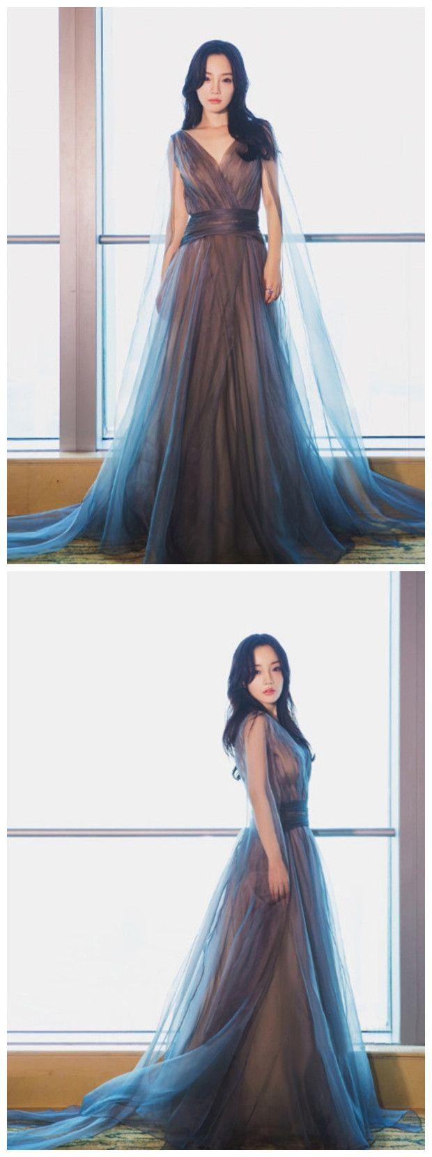 aline prom dresses blue v neck tulle modest long prom dress