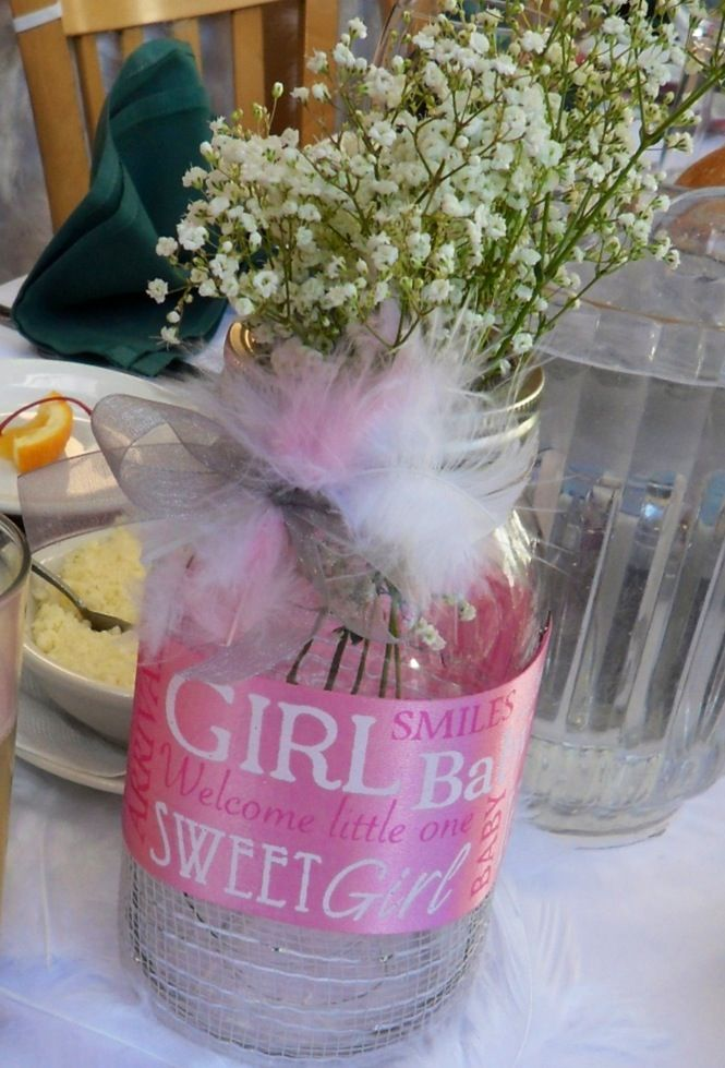 Baby Shower Decor With Mason Jars ~ Don t like the girl ribbon but i mason jar baby
