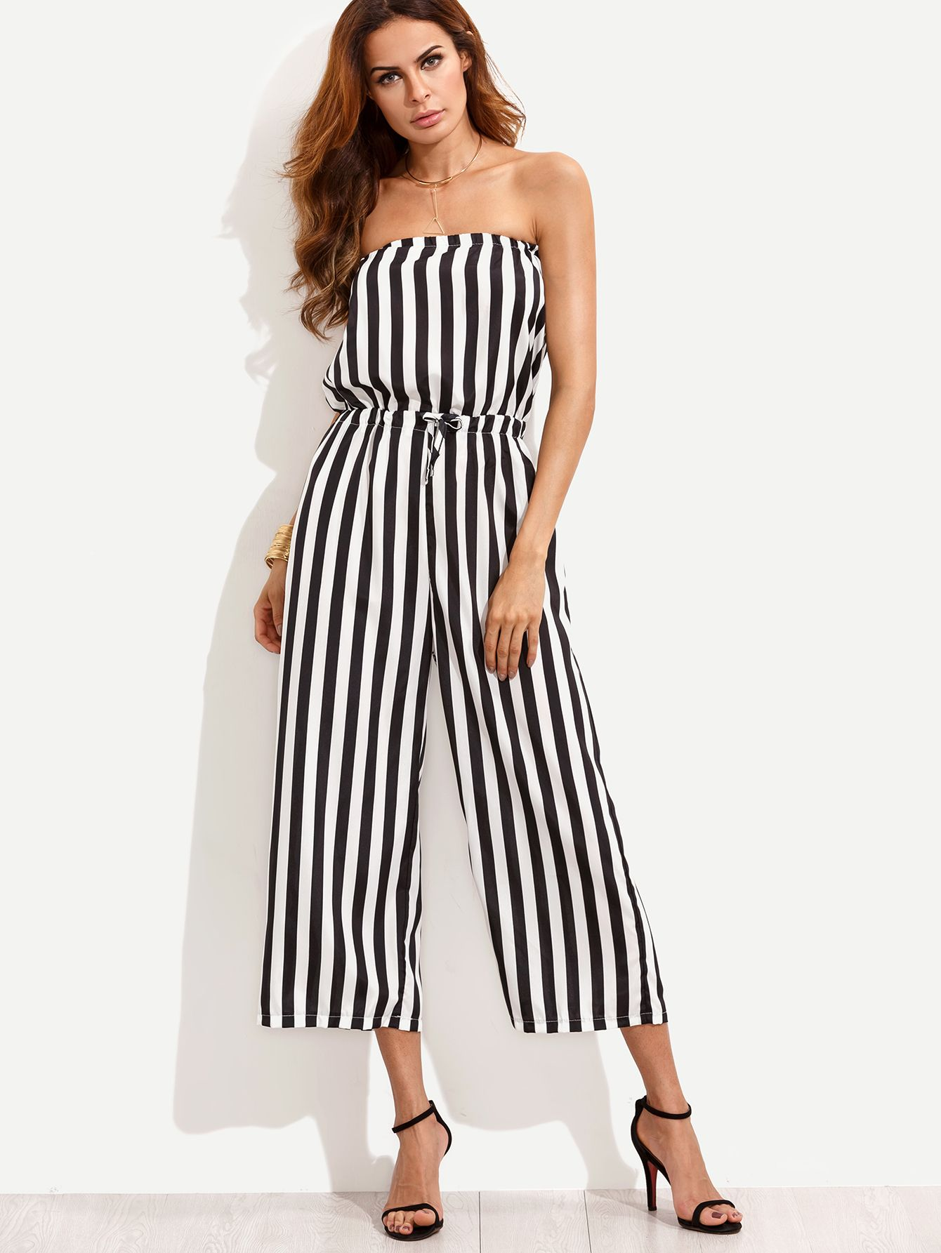 2d5f429082f Black White Vertical Striped Drawstring Bandeau Jumpsuit -SheIn(Sheinside)