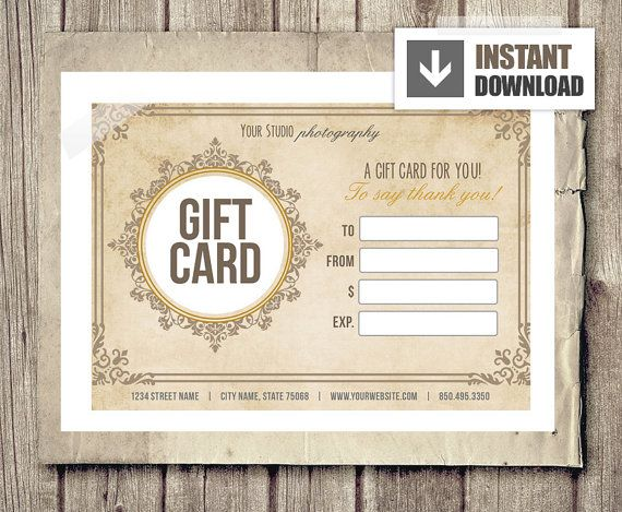 Gift Card Certificate Template for Photographers Vintage Ornate – Gift Card Certificate Template