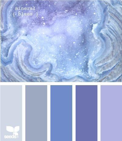 blues palette - great for a serene bedroom!  Ben Moore colors - Spring Purple, Enchanted, Blue Dragon, Violet Mist, Excalibur Gray