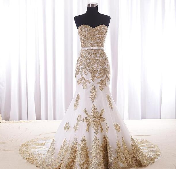 Mermaid White And Gold Wedding Dress Cheap Real Photos Sweetheart Chapel Train Applique Lace Bridal Dress For Women Girls New