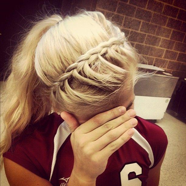 headband braid. Wanna do this for softball games:)