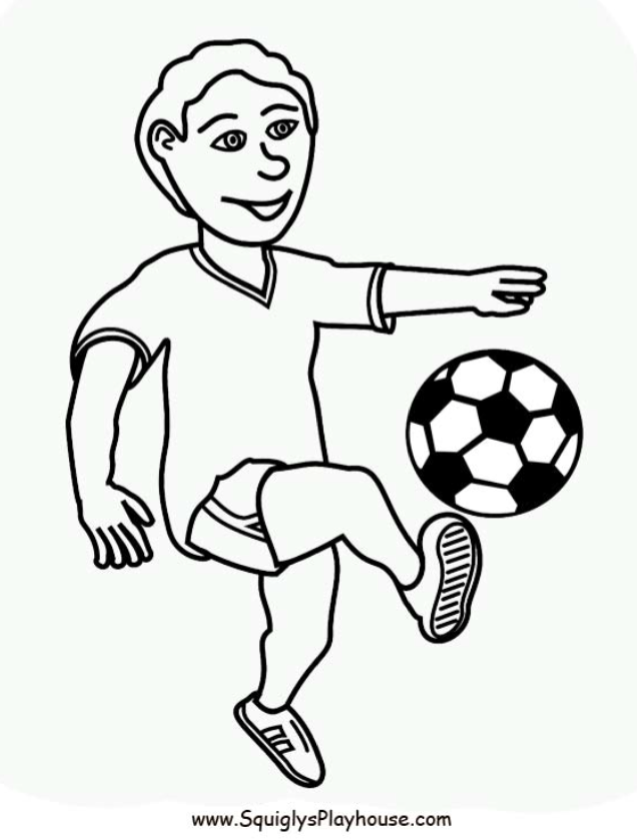 A Free Coloring Page Of A Boy Playing Soccer Sports Coloring