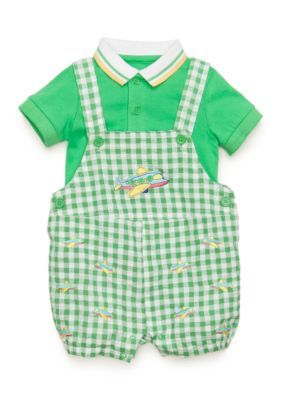Nursery Rhyme  2-Piece Shirt and Airplane Shortalls Set