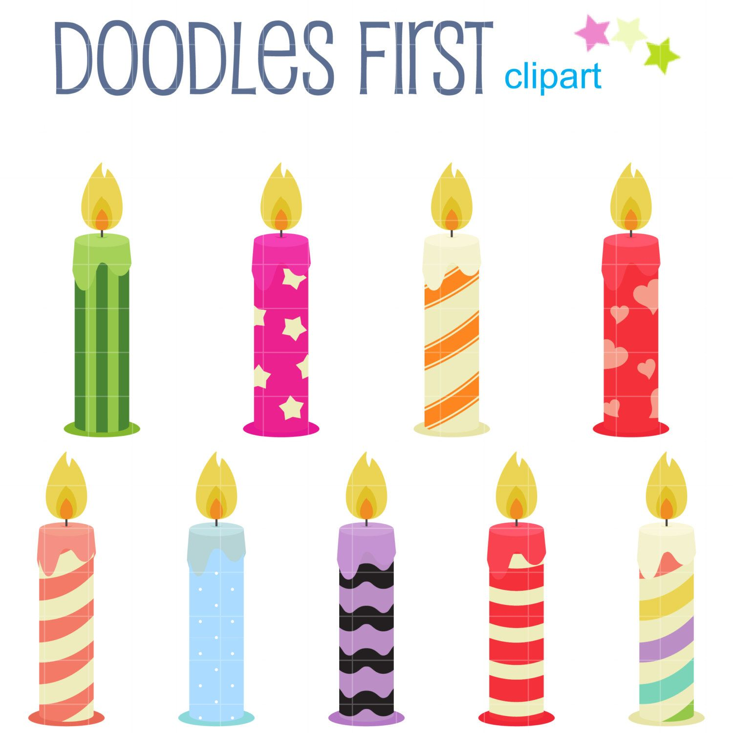 Fun Birthday Candles Digital Clip Art For Scrapbooking Card Making Cupcake Toppers Paper Crafts 299 USD By DoodlesFirst