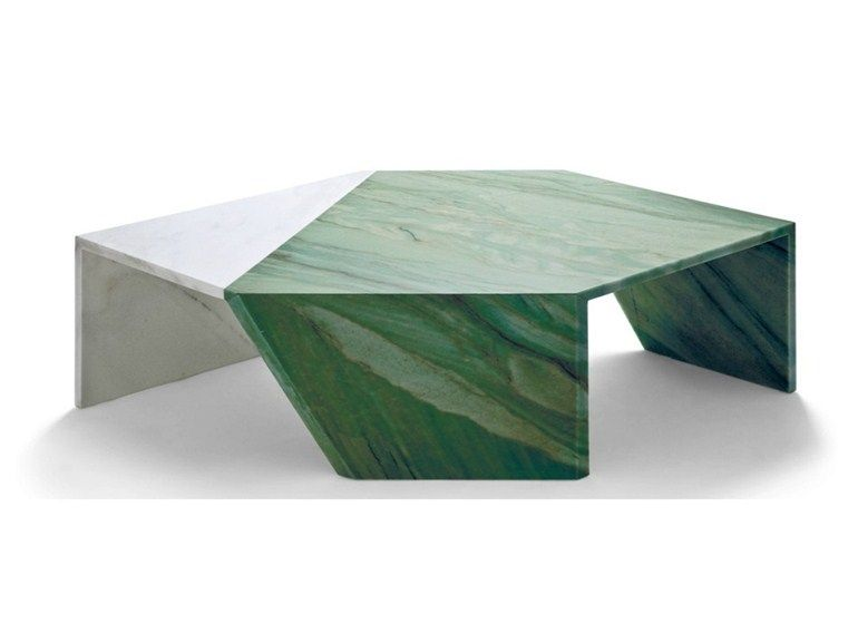 Low marble coffee table ORIGAMI Earthquake 59 Collection by Budri - design esstisch marmor tokujin yoshioka