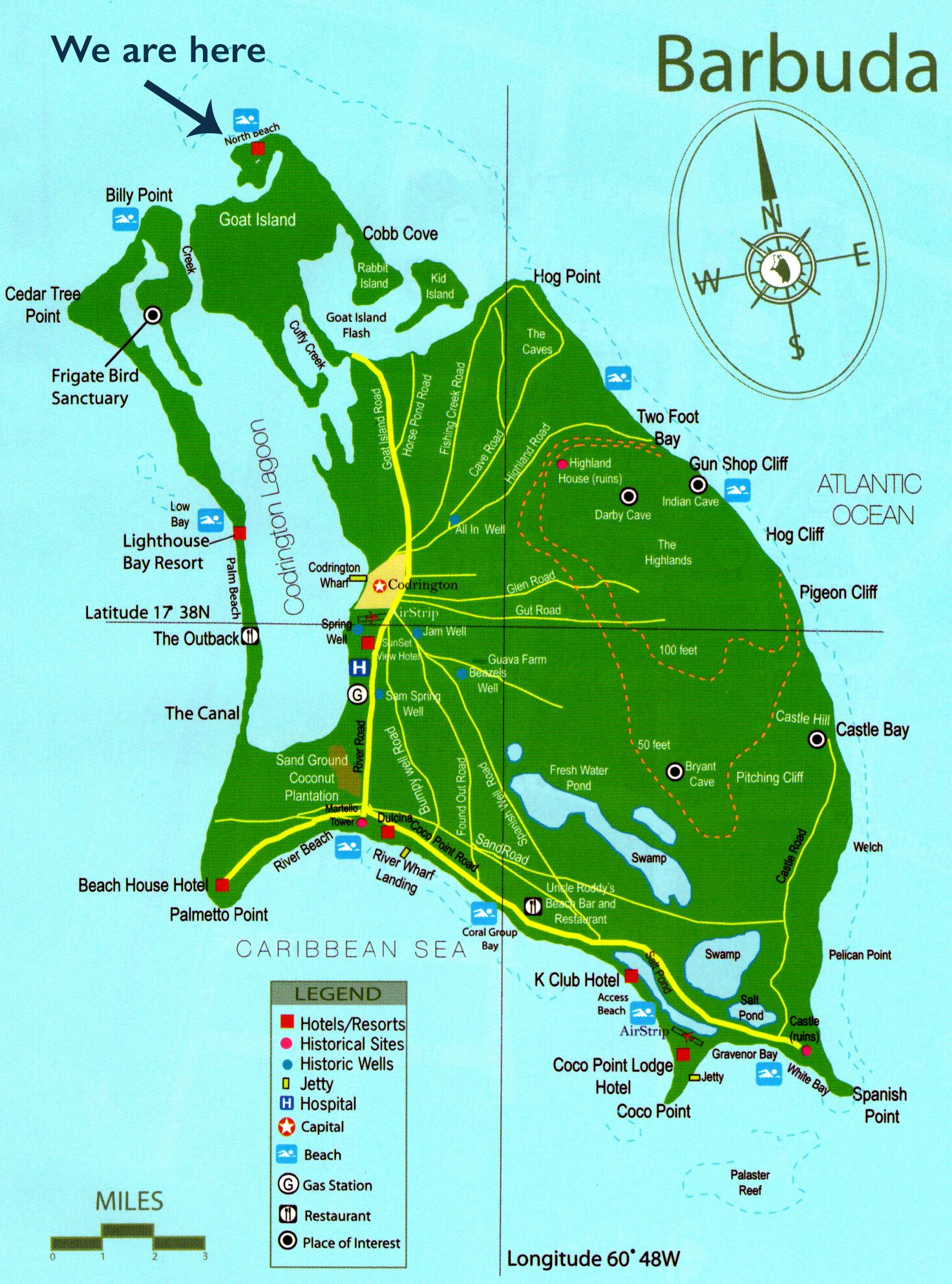 Where is North Beach Barbuda Map of Barbuda Antigua forever my
