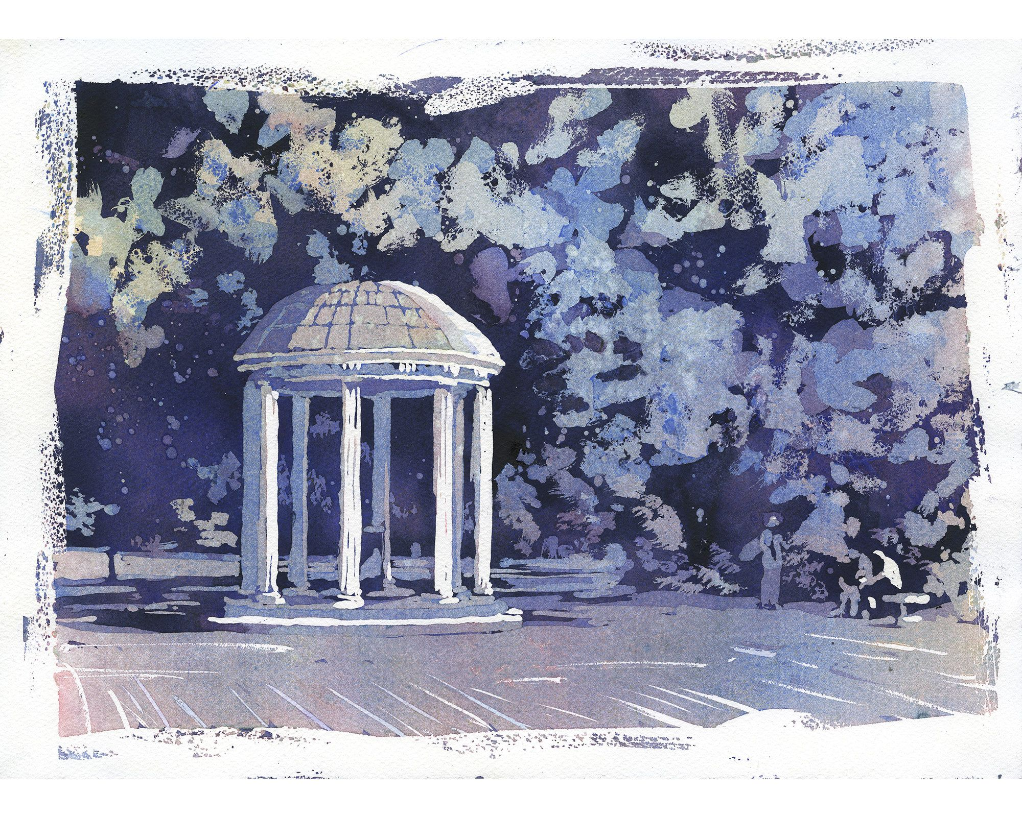 Unc Old Well Painting University Of North Carolina Old Well Fine