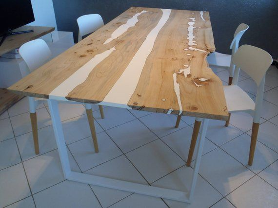 Wood And Resin Live Edge Dining Table Table En 2019