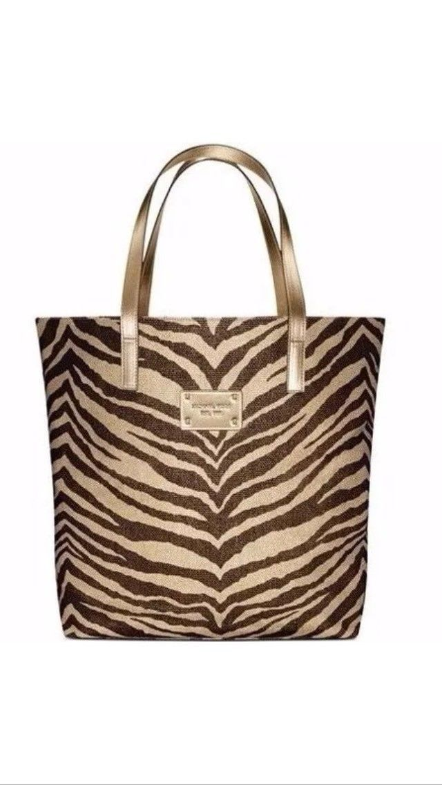 74339163974909 Michael Kors Zebra Animal Print Canvas Tote Bag Shopper Handbag Purse