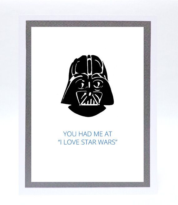 Funny Illustrated Darth Vader Valentineu0027s Day Or Birthday Card