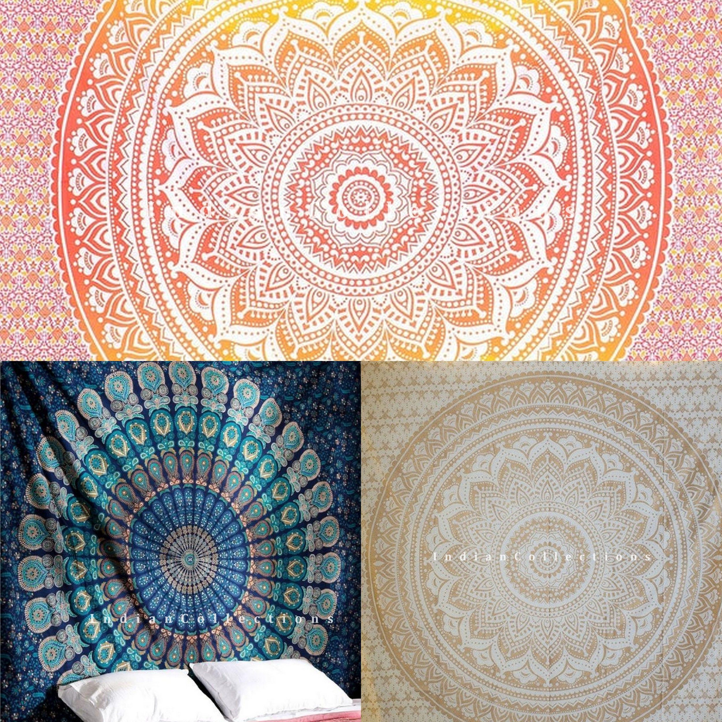 Ombre Mandala Floral Orange Cotton Wall Hanging Small Tapestry Poster Throw Art