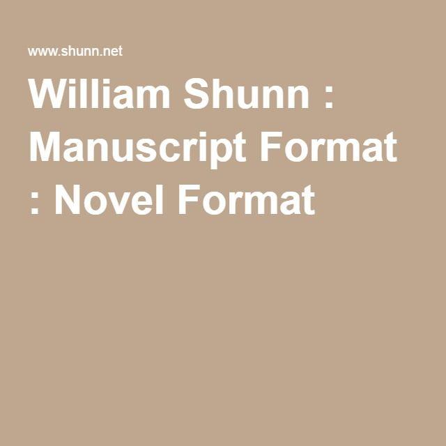 manuscript format novel