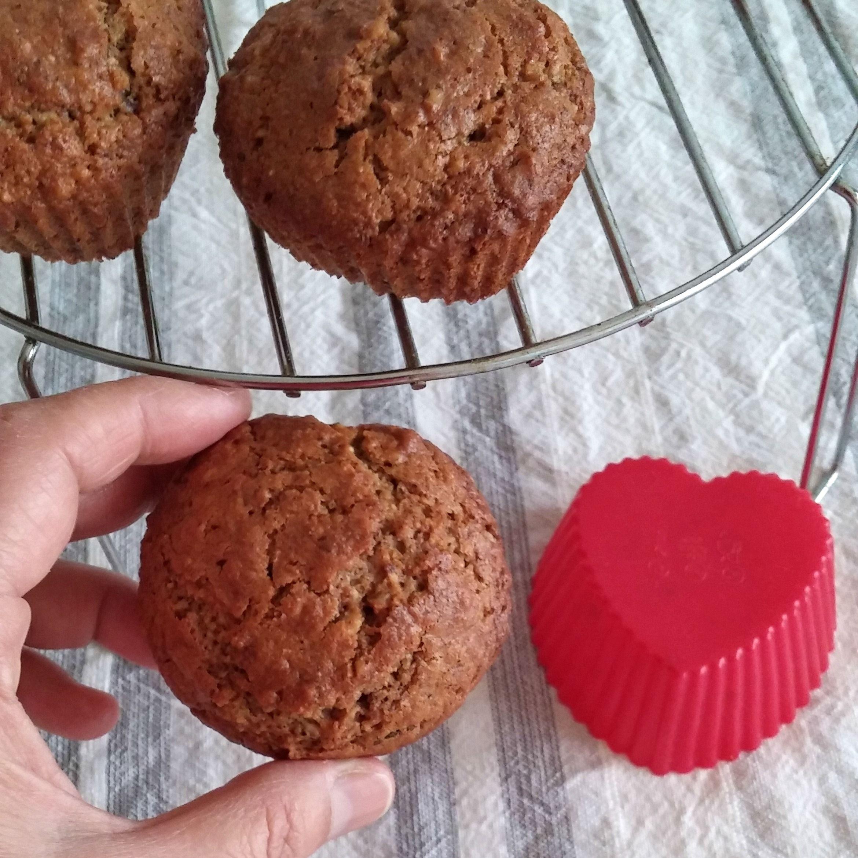 Receta de muffins integrales con frutos secos, coco y copos de avena