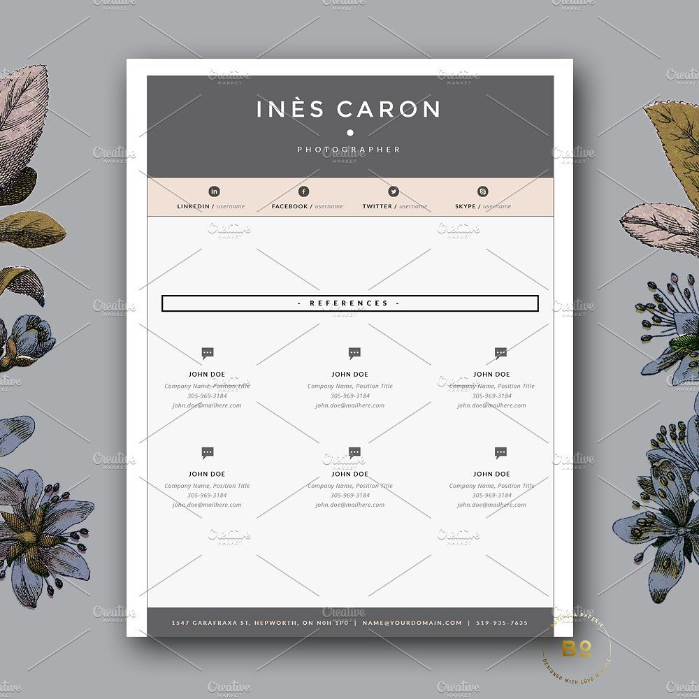 Page Resume Template For Word By Botanica Paperie On