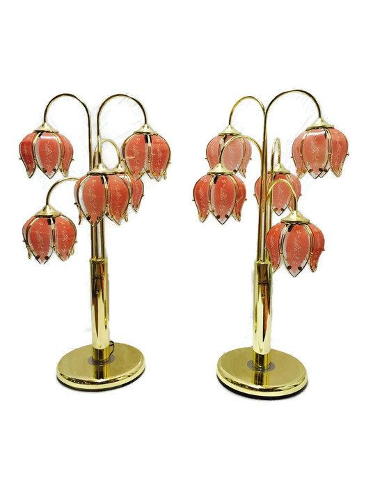 BIG Vintage 38 Tall Glam Brass Lotus Lamps Hollywood by studio180