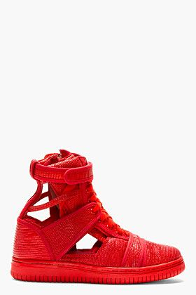 CHRISTIAN PEAU Red Lizard Cut Out High Top Sneakers