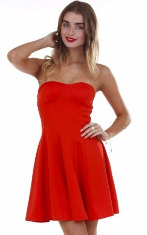 Red Strapless Fit & Flare Dress