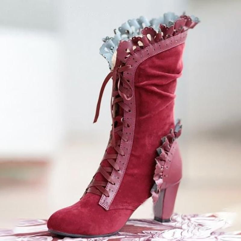 Women Chunky High Heel Split Toe Knight Combat Boots Shoes Side Zip Leather
