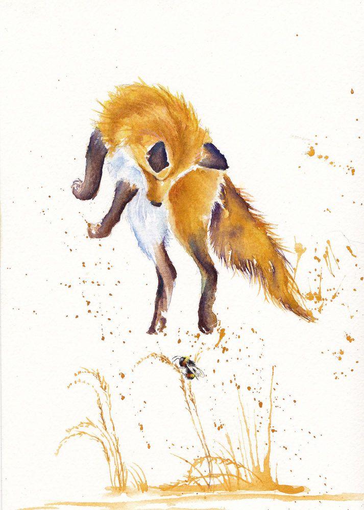 Original Watercolor Painting Jumping Fox