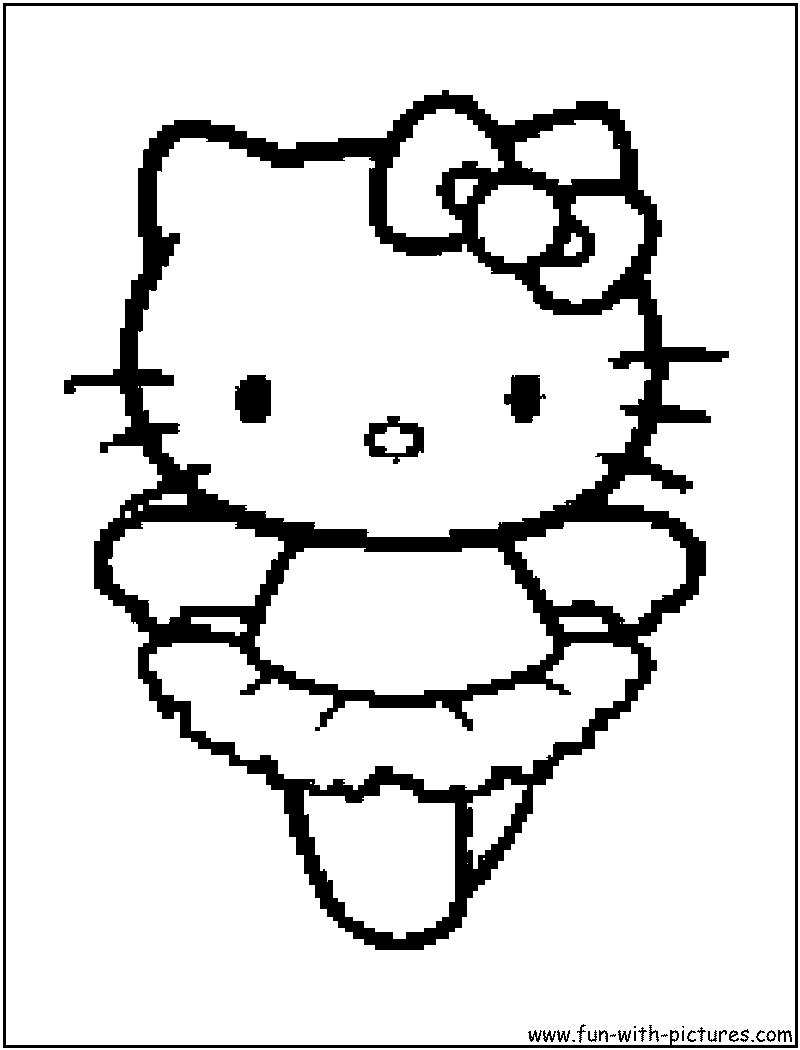 Coloring pages ballerina - Hellokitty Popcorn Coloring Page