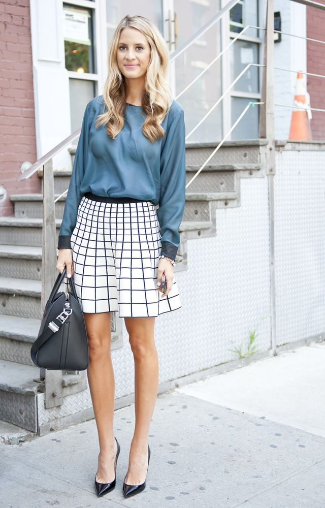 geometric print skirt. NYC. #NYFW