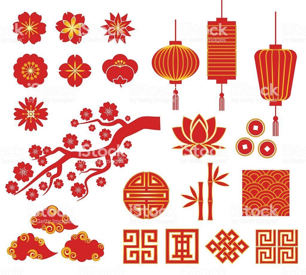 Chinese Korean Or Japan Decorative Vector Icons For Chinese New Year Chinese New Year Design Japan Icon Chinese New Year Decorations