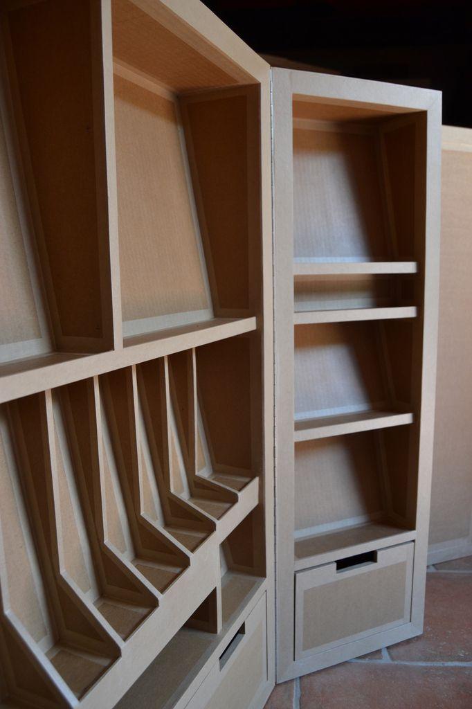 Detail Niches De Rangement Sur Mesure En Carton Sg Mobilier Carton Mobilier En Carton Design En Carton Meubles En Carton