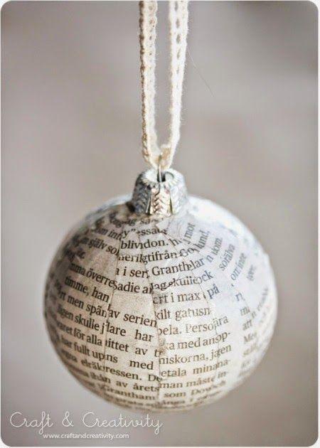 Christmas decorations - homemade papier mache Christmas tree baubles