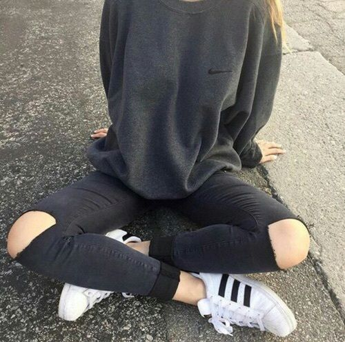 Back to School Fashion - Nike sweater + adidas superstar