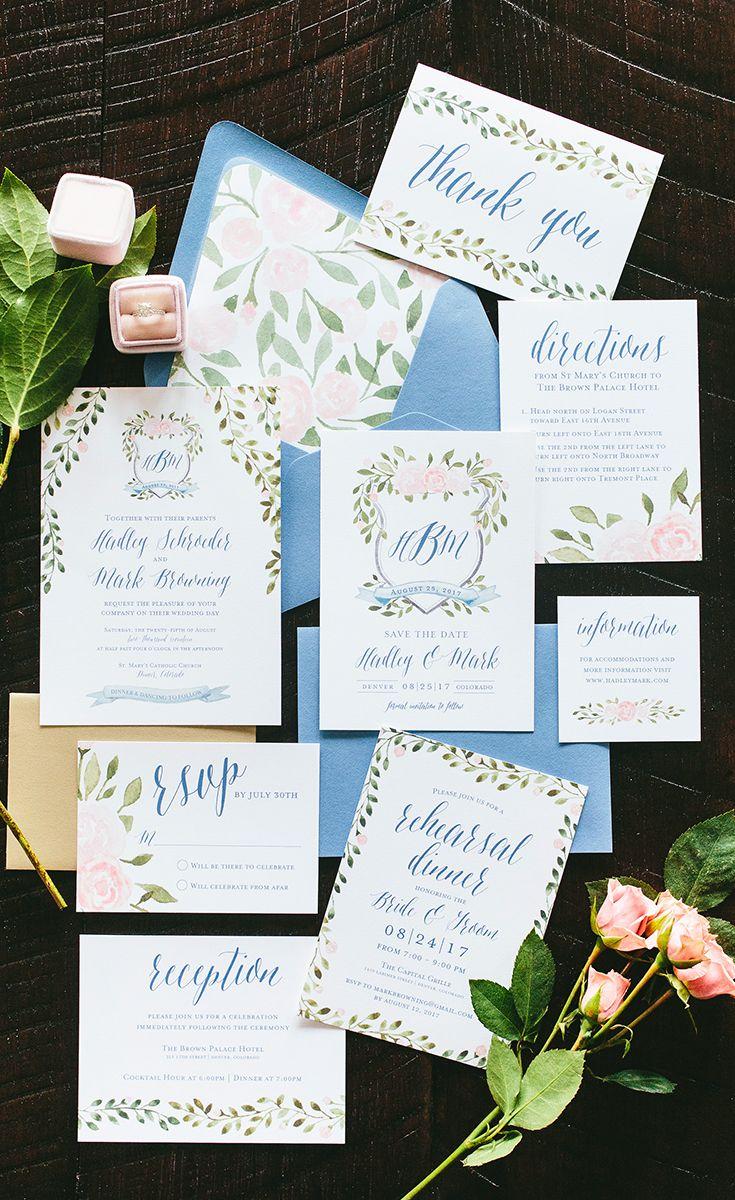 Hadley Watercolor Crest Wedding Invitation Suite Crest Wedding