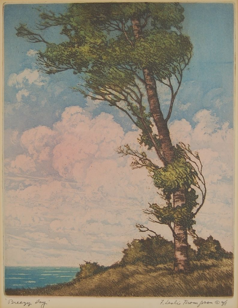 Breezy day signed aquatint etching by chicago artist floyd