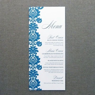 Menu Card Template \u2013 Rococo Design Wedding  Event Table Top - event menu template