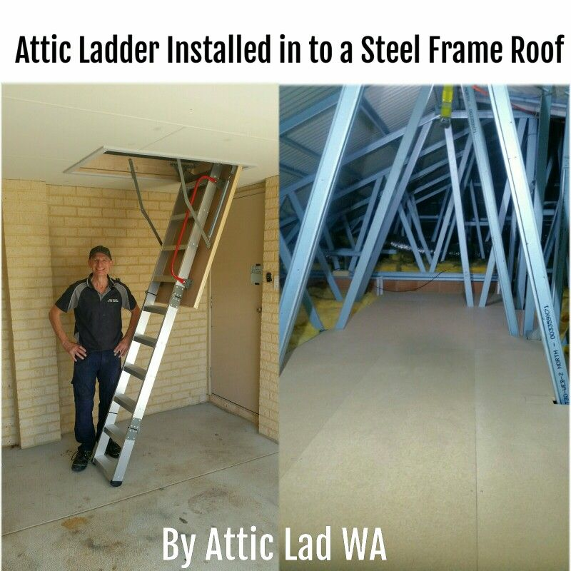 Of My Recent Jobs Was To Install One Of My Quality 680 Extra Wide Aluminum Attic Ladders In To A Steel Frame Roof Attic Renovation Attic Storage Attic Remodel
