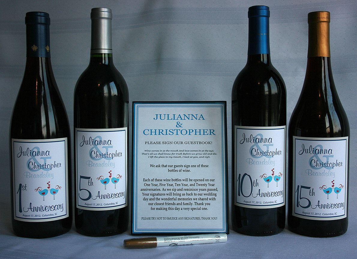 Wine Bottle Wedding Guest Book Kit Gift Boxed Custom Labels Spring