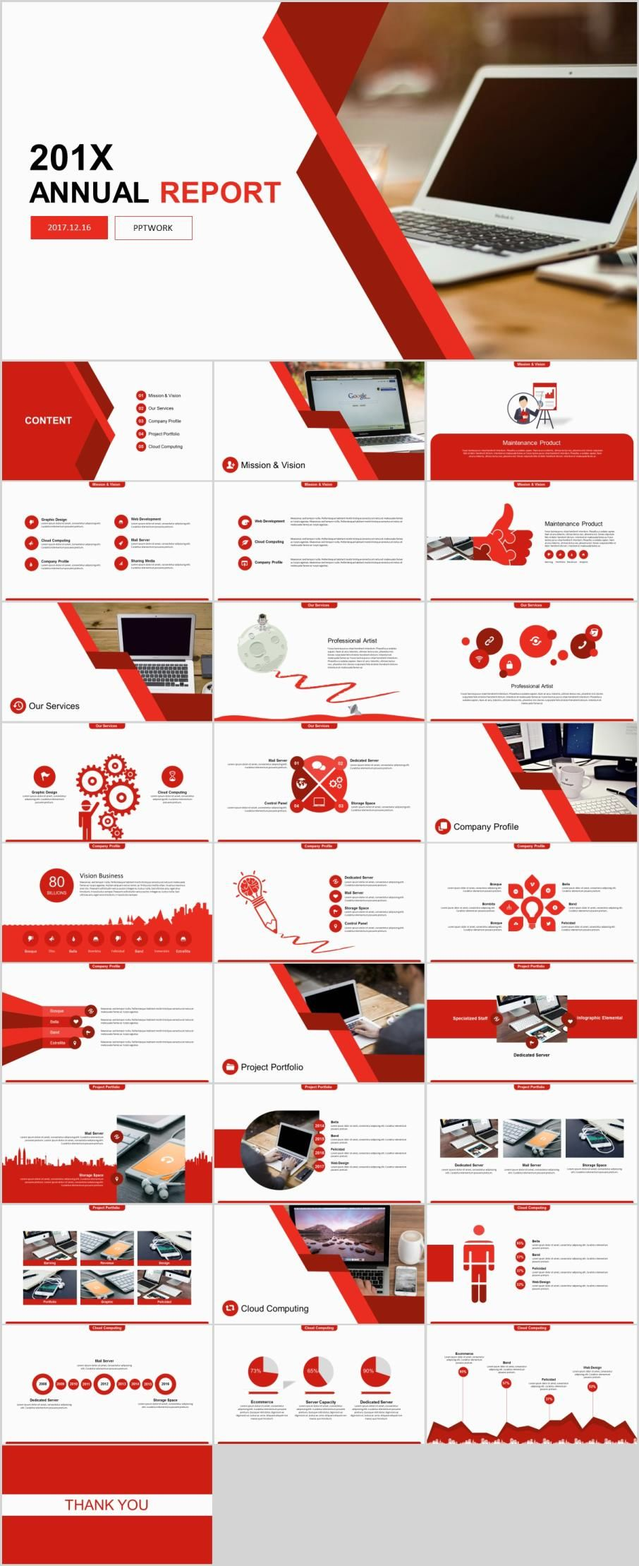 29 red annual report powerpoint templates simple powerpoint